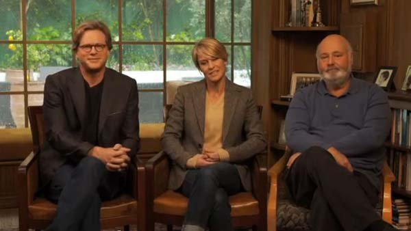 Actors Cary Elwes, left, and Robin Wright, along with director Rob Reiner, are celebrating the 25th anniversary of 'The Princess Bride' with a fundraiser for Mercy Corps. (Source: Mercy Corps/YouTube)