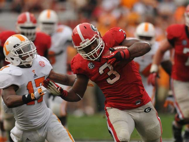 Georgia running back Todd Gurley (3) leads the SEC in rushing and is one half of a deadly tandem. (Source: Georgi