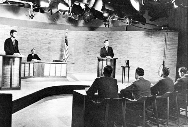 The first televised presidential debate was between John F. Kennedy and Richard M. Nixon. (Source: The National Park Service)