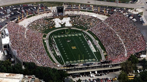 Missouri's Faurot Field, circa 1999, when Cecelia Hanley was a student there and the athletic program was part of the Big 12 (