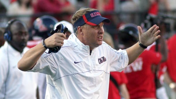 Mississippi coach Hugh Freeze opted to go for it on fourth-and-inches late in the game last week against Texas A&M, which cost his team dearly. He said he'd do it again. Will he? We'll find out when Auburn visits Oxford. (Source: Joshua McCoy/Ole Miss)