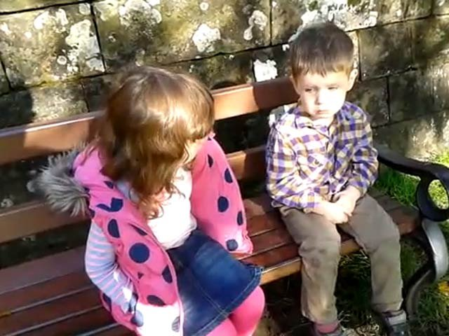 "An older sister tells her little brother Gabriel to get it together by telling him to ""toughen up a bit."" (Source: YouTube)"
