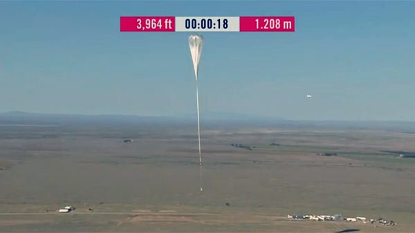 The weather balloon carrying Felix Baumgartner's capsule begins its ascent into near space. (Source: Red Bull Stratos)