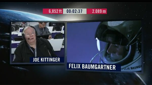 Joe Kittinger walks Felix Baumgartner through control checks shortly after his takeoff. (Source: Red Bull Stratos)