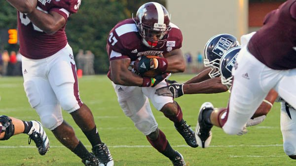 Mississippi State' LaDarius Perkins will try to keep the Bulldogs' undefeated streak alive against Alabama t