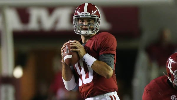Alabama quarterback A.J. McCarron looks to throw against Ole Miss earlier in the season. (Source: Univer