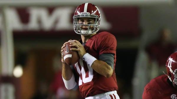 Alabama quarterback A.J. McCarron looks to throw against Ole Miss earlier in the season. (Source: University of Alabama Athletics)