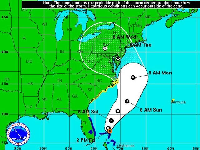 The National Hurricane Center's five-day forecast cone for Hurricane Sandy, as of 2 p.m. ET. (Source: NWS)