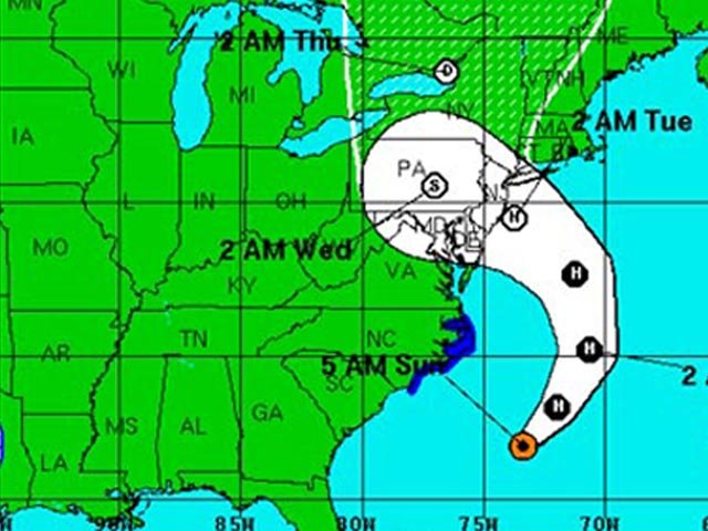 According to the National Weather Service 5 a.m. ET Sunday forecast, the storm will make landfall on the East Coast overnight Monday. (Source: NWS)