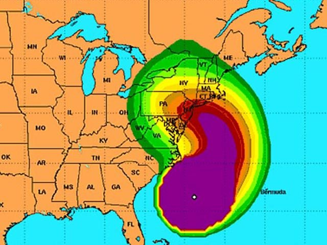 Tropical storm force wind speed probabilities from 8 p.m. ET Saturday to 8 p.m. Thursday. (Source: NWS)