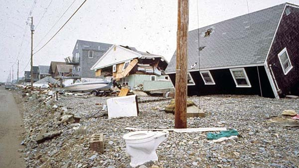 Damaged homes are shown from the 1991 Halloween Storm, also called the Perfect Storm, that killed 13 people. (Source: NOAA)