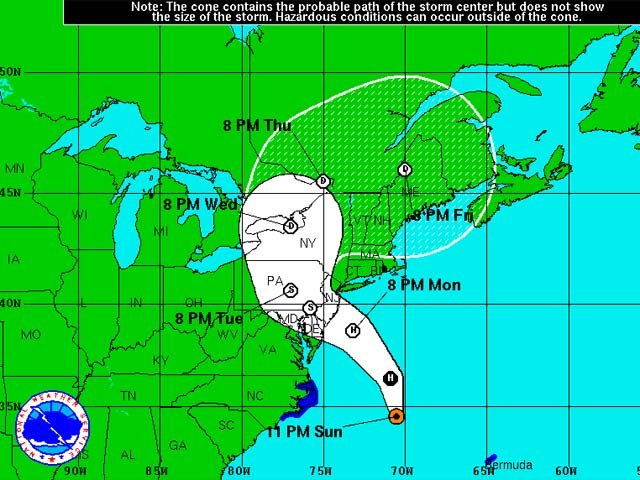 According to the National Weather Service, Sandy is expected to bring strong winds and a significant storm surge to the mid-Atlantic states and Southern New England. (Source: NHC)