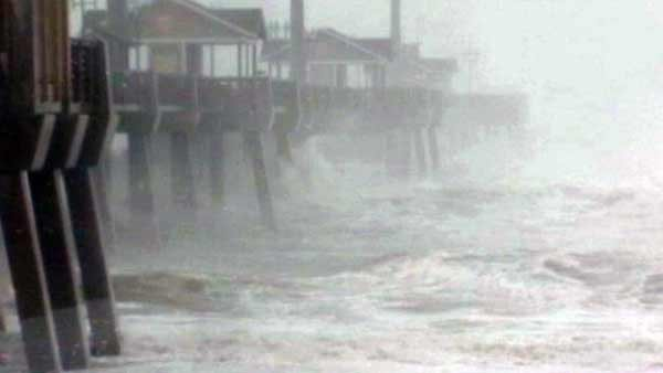 Coast line in Kill Devil, NC was battered by Hurricane Sandy's high winds. (Source: WSOC/CNN)