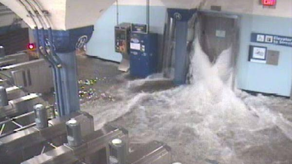 Flood waters rush in to the Hoboken PATH station through an elevator shaft. (Source: Port Authority of New York/New Jersey)