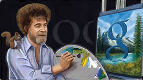 A screengrab of Google's doodle honoring Bob Ross' birthday. (Source: Google)