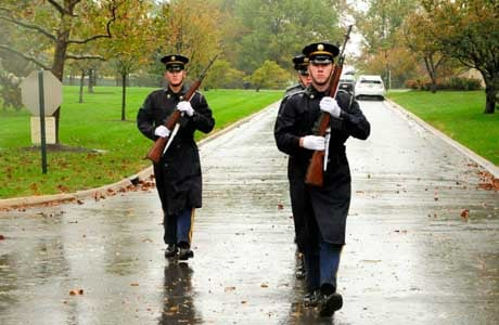 A Firing Party from Delta Company, 3d U.S. Infantry Regiment (The Old Guard), leaves the columbarium area after conducting a funeral for a Veteran at Arlington National Cemetery, VA., Oct. 29. (Source: Sgt. Jose A. Torres Jr/U.S. Army/Facebook)