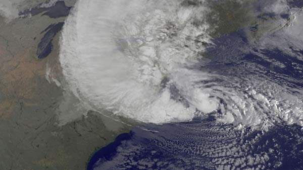 A satellite image of Hurricane Sandy as it hit the East Coast. (Source: NASA)