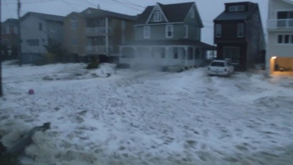 Neighborhoods in Ocean City, NJ, faced severe flooding. (Source: Trevor Moran/CNN)