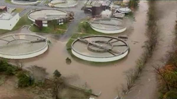Little Patuxent Water Reclamation Plant has been flooded in Howard County, MD spilling sewage untreated sewage into local waterways.  (Source: CNN)
