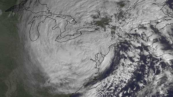 A satellite image of the remnants of Sandy on Tuesday morning shows the superstorm is still covering most of the northeast states as well as some Midwest states and Canada. (Source: NOAA)