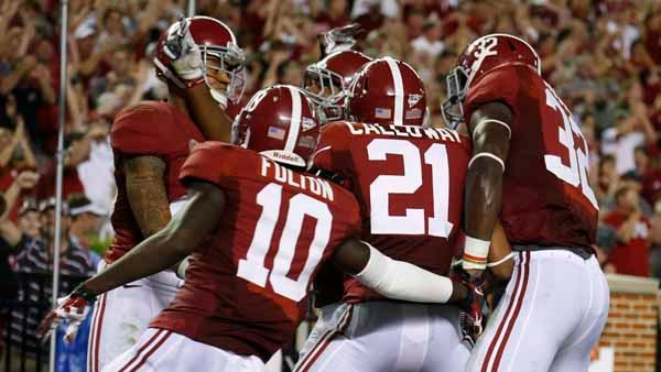 Alabama players celebrate a touchdown against Ole Miss earlier in the year. The Tide had even more to celebrate this week with a 21-17 win over LSU in Baton Rouge. (Source: Alabama Athletics)
