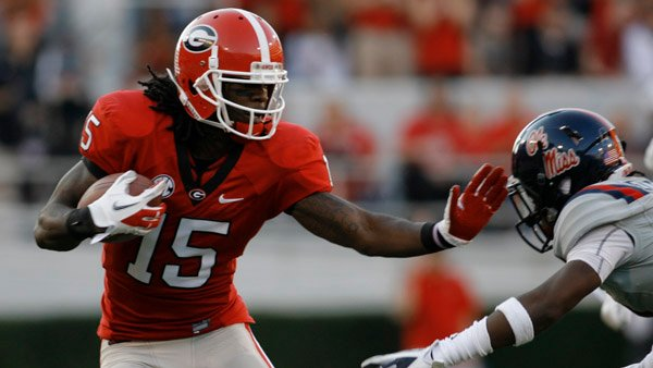 Georgia Wide receiver Marlon Brown (15) helped Georgia get past O