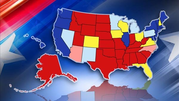 Strong Romney states are red, leaning Romney are pink; Strong Obama states are blue, leaning Obama are light blue. The swing states are yellow. (Source: MGN)