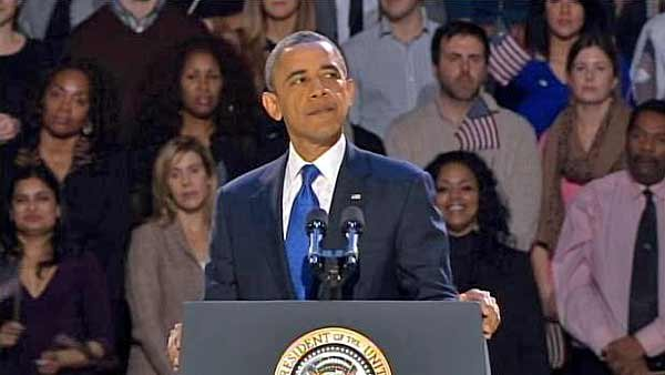 President Barack Obama greeted thousands of supporters in Chicago after he was re-elected to a second term Tuesday. (Source: CNN)
