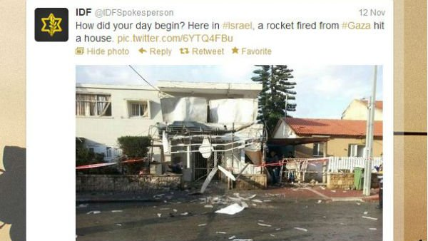The official Israeli Defense Forces account tweeted an image Monday it claimed came from a Hamas attack. (Source: Twitter)