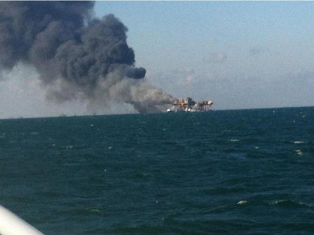 An oil rig off the coast of Louisiana exploded Friday. (Source: KATC)