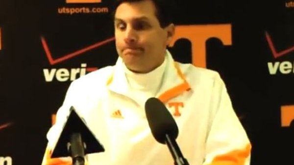 Tennessee coach Derek Dooley is shown at the press conference following his team's Nov. 17 loss to Vanderbilt. (Source: utsports.com)