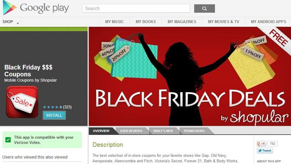 Smartphone apps can give the doorbusting Black Friday shopper an advantage over all the other early birds. (Source: Google Play)