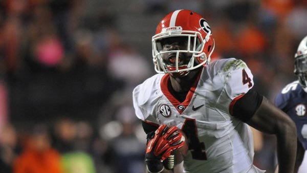 Tailback Keith Marshall is one of many reasons that Georgia has battled its way back into the national championship picture and a berth in the SEC Championship Game. (Source: Wes Blankens