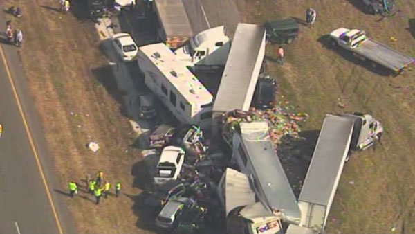 A department of public safety representative said at least 100 vehicles were involved in a crash Thursday in Jefferson County, TX. (Source: KTRK/CNN)