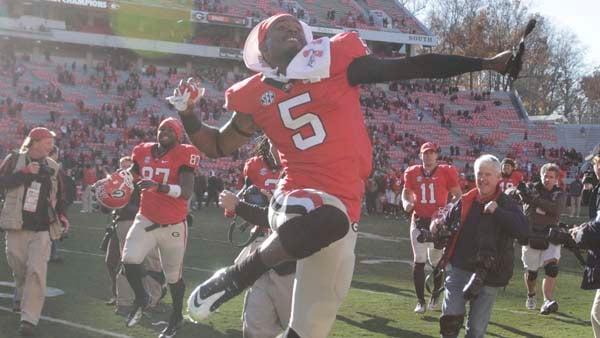 Georgia cornerback Damian Swann celebrates the Bulldogs' win over Georgia Tech as if no one is watching. (Source: Georgia Athletics)