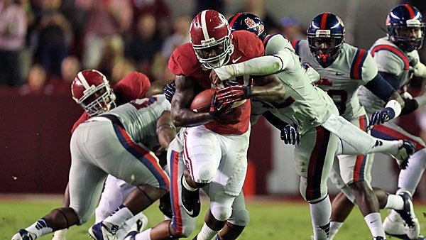 Bruising Bama back Eddie Lacy will challenge Georgia's defensive line, which has not been effective against the run this year . (Alabama Athletics Communications)
