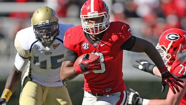 Georgia freshman running back Todd Gurley has gained more than 1,100 yards this year. (Source: Wes Blankenship)