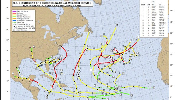 A map of the known tropical cyclones in the 2012 Atlantic hurricane season. (Source: noaa.gov)