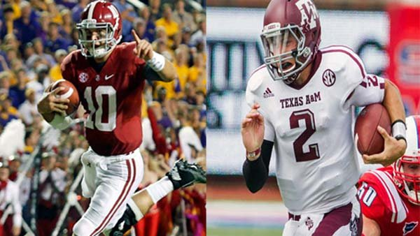 The first battle between AJ McCarron and Johnny Manziel went in favor of the freshman, and the Heisman race is an even more lopsided affair. (Source: University of Alabama Athletics Communications/Texas A&M Athle