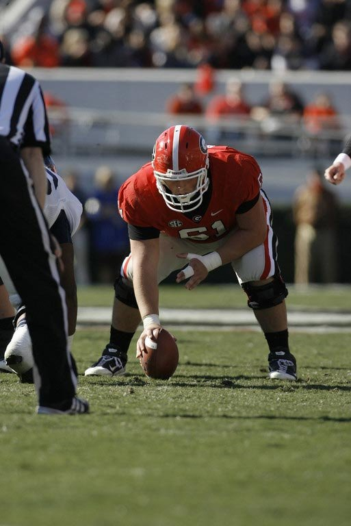 Georgia center David Andrews hubs an offensive line that will face Alabama's tough defensive line. (Source: Wes Blankenship)