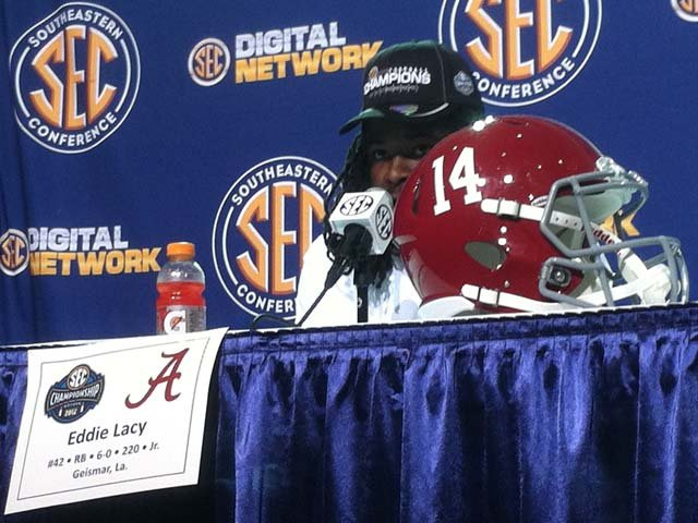 Eddie Lacy answers questions after Alabama's victory over Georgia in the SEC Championship Game. (Source: Brian Tynes/RNN)