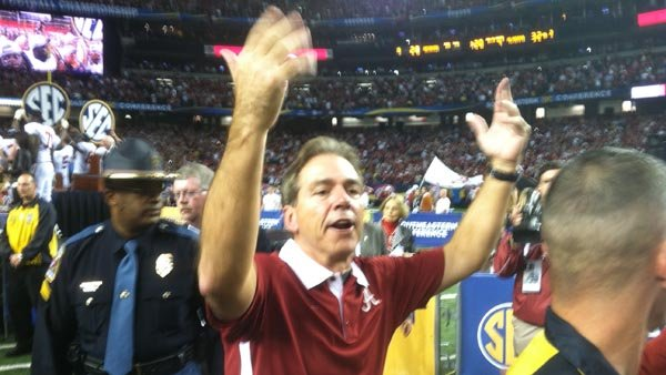 Alabama coach Nick Saban acknowledges fans following the Crimson Tide's win Saturday in the SEC championship game in Atlanta. (Source: RNN/Brian Tynes)