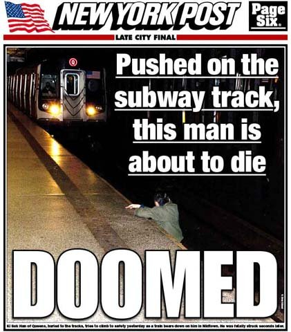 Outrage erupted over the New York Post's cover story Tuesday, showing a man seconds before he died from a train strike. (Source: Twitter)