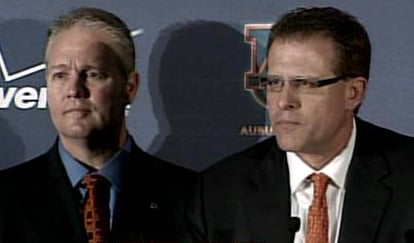 Gus Malzahn, right, was introduced Tuesday night as the new coach of the Auburn Tigers by Athletic Director Jay Jacobs, left. (Source: WSFA)