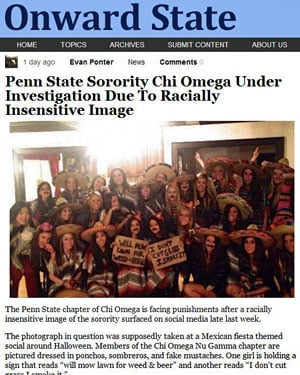 The Penn State student blog &quot;Onward State&quot; first reported on the photo Tuesday. (Source: Onward State)
