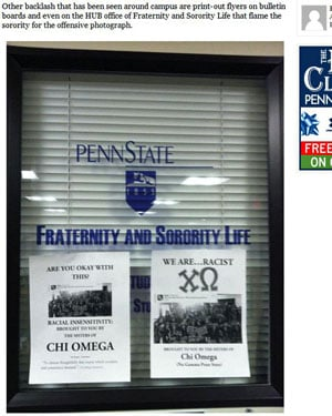 Students showed their disapproval of the photo by posting flyers around campus, including two at the Penn State Fraternity and Sorority Life office. (Source: Onward State)