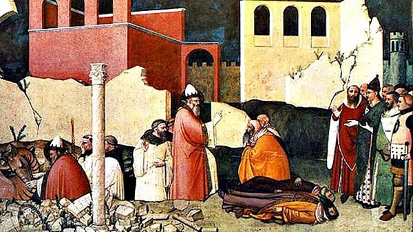 This is an olden times painting of Pope Sylvester blessing people after an alleged dragon attack. He thought the world would end on Jan. 1, 1000. It didn't. (Source: Wikimedia Commons)