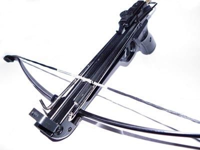 This is a crossbow, which will shoot special arrows very far and fast at things. It is a cool thing, even if you don't have an apocalypse to go with it. (Source: Wikimedia Commons)
