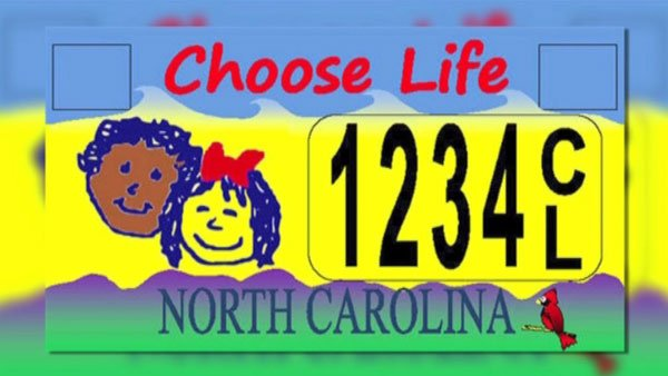 "A U.S. District Court ruled that ""Choose Life"" license plates to be offered in North Carolina violate the First Amendment. (Source: Choose Life/CNN)"