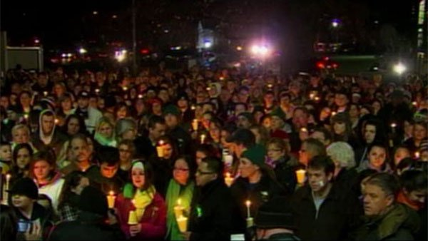 The community of Newtown, CT gather for vigils throughout Saturday in honor of the 26 slain at Sandy Hook Elementary School on Friday. (Source: CNN)